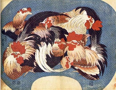 Hokusai - Flock Of Chickens
