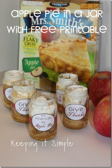 #ad Apple-pie-in-a-jar-with-free-printable #ThankfullySweet