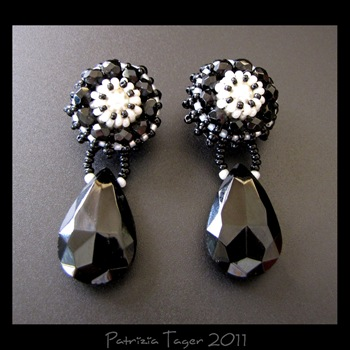 Black Rosette earrings 01 copy