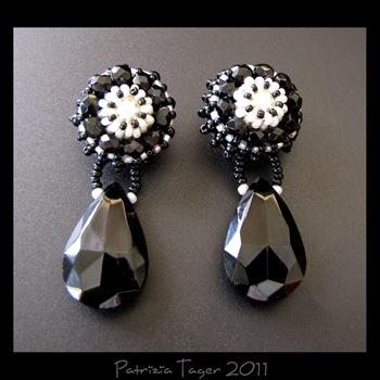 Black Rosette earrings 01 copy