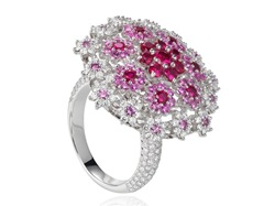 Pink Sapphires,Diamonds and Ruby Ring