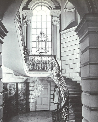 The octagonal staircase in the Provost's House at Trinity College, Dublin, is lit by an incredible Venetian window and lined with amazing ironwork and rich plasterwork.