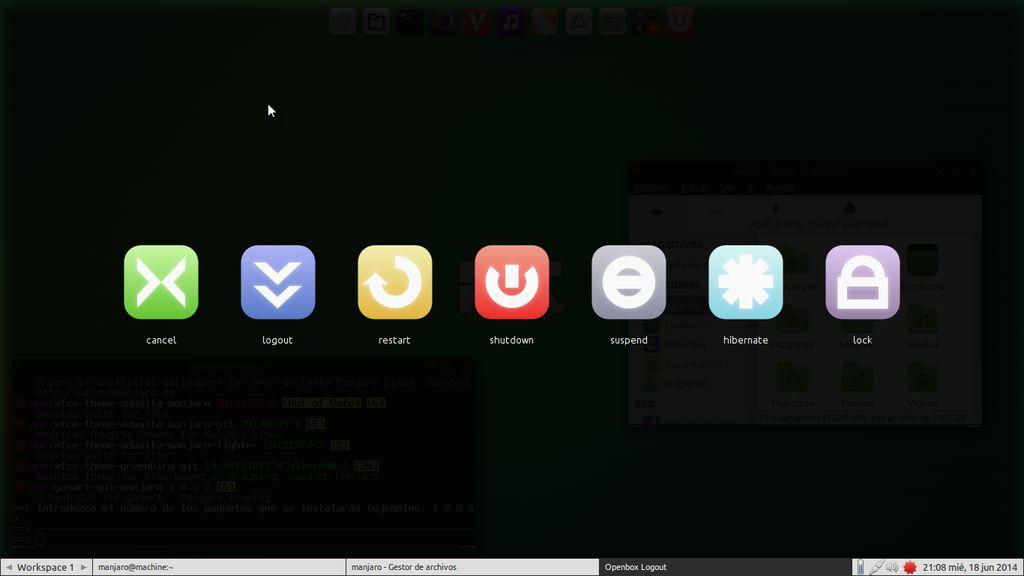 Manjaro Fluxbox 0.8.10 - logout