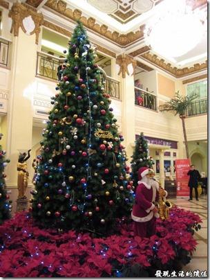上海壽司天家。名都成俱樂部的耶誕樹擺飾,用餐時正好是耶誕前夕。