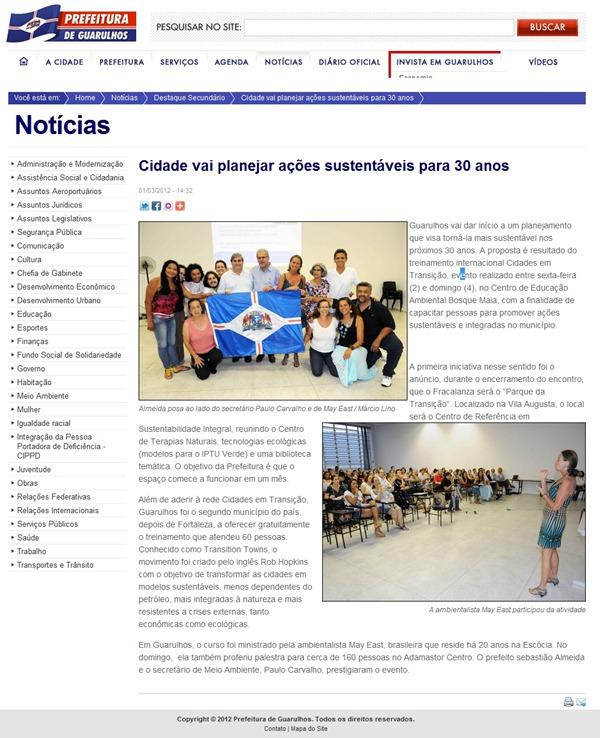 TTT - Matéria no site da Prefeitura - Cidade vai planejar ações sustentáveis para 30 anos
