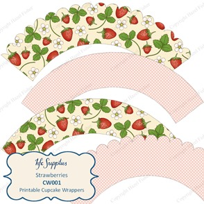 CW001 etsy 1 Strawberries cupcake wrapper pink