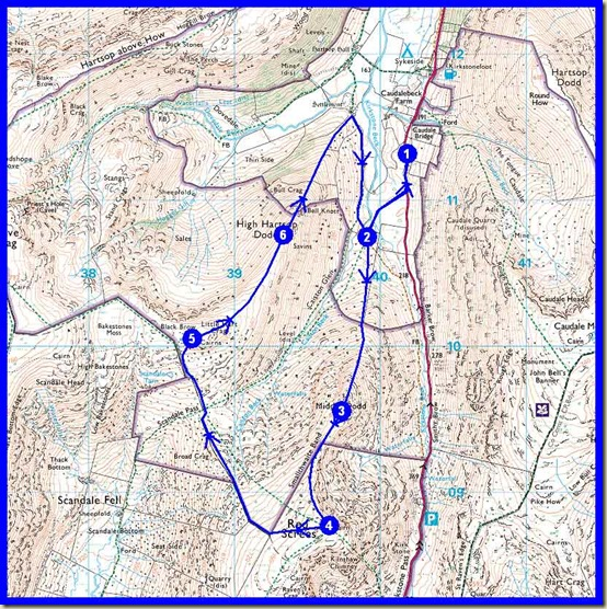 Our route - 9km, 750 metres ascent, 3.5 hours