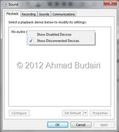 No audio output devices are installed