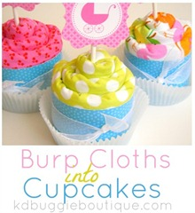 Baby Burp Cloth Cupcakes Tutorial