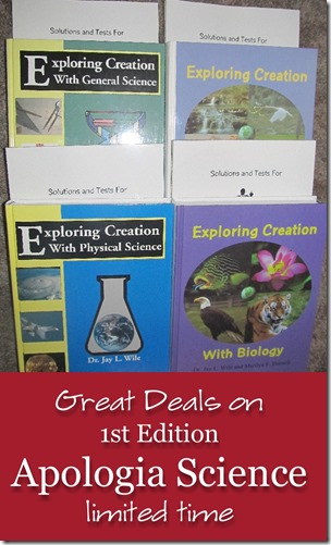 Great deals on Apologia Science 1st editions (limited time)