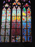 Stained glass window inside the St. Vitus Cathedral