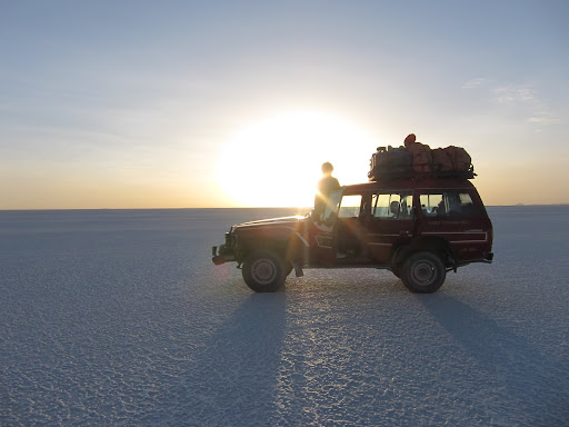 The jeep on the salt flats.