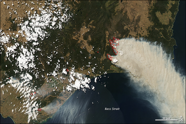 NASA's Aqua satellite acquired this image on 9 February 2014, showing several large bushfires burning in and around Snowy River National Park, in the Australian state of Victoria. The fires are outlined in red. Photo: Jesse Allen / NASA