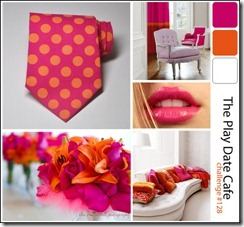 story128 flamingo pink, bright orange, white