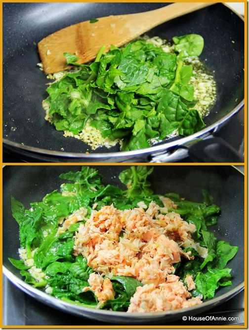 Frying spinach and salmon