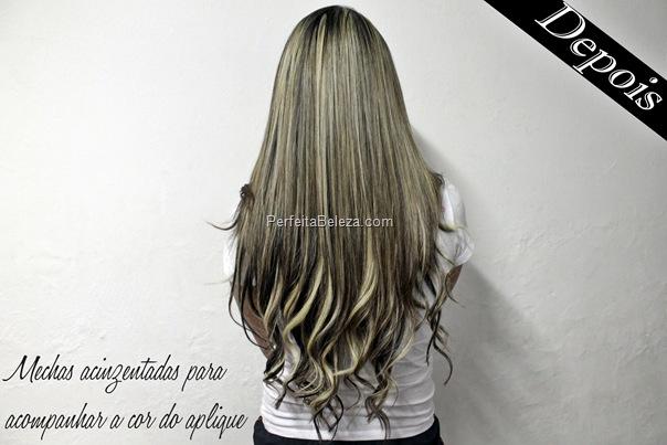 cabelo com aplique loiro