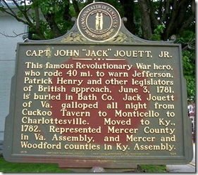 "Capt. John ""Jack"" Jouett Jr. marker 1528 in Bath County, KY (Click any photo to enlarge)"