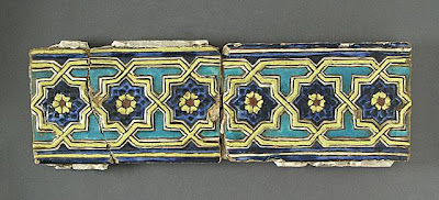 Tiles | Origin: Greater Iran, Samarqand | Period:  circa 1385 | Collection: The Madina Collection of Islamic Art, gift of Camilla Chandler Frost (M.2002.1.266a-b) | Type: Ceramic; Architectural element, Earthenware, molded and glaze-painted, 5 3/4 x 9 3/16 in. (14.6 x 23.33 cm)