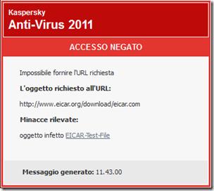 Accesso negato file malevolo test EICAR