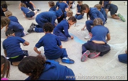 15 ways to use side walk chalk as a teaching tool - Draw a world map - ideas from Raki's Rad Resource