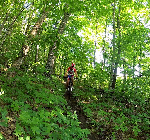 Riding on the mountain bike trail