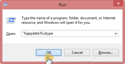 Navigate to appdata-skype from the Run dialog