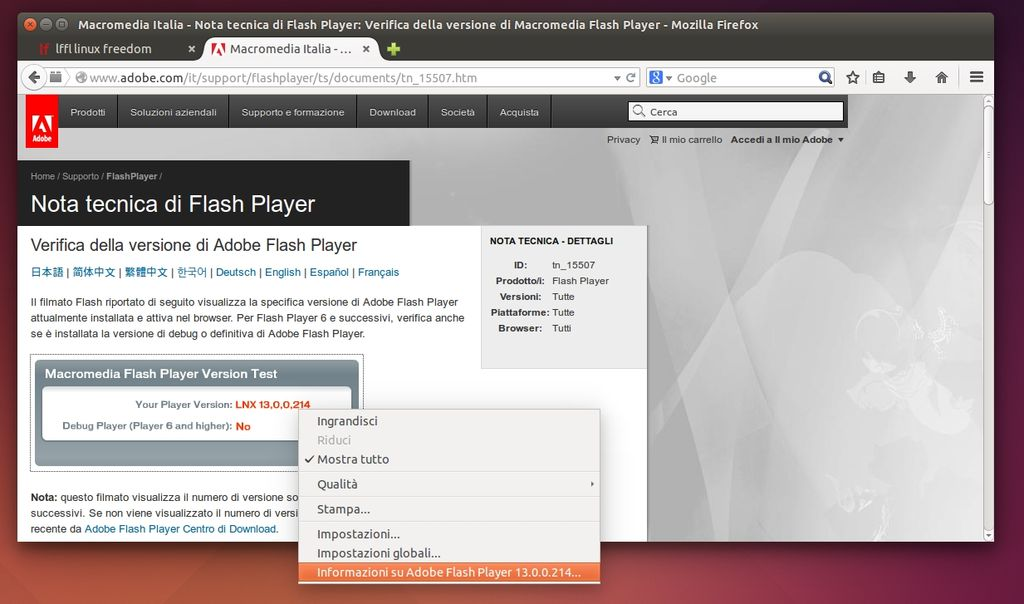 Fresh Player Plugin - versione Adobe Flash Player