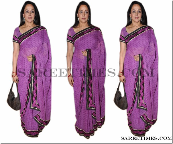 Hema_Malini_Purple_Saree
