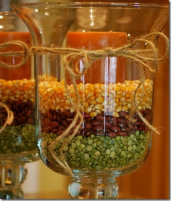hurricane filled with beans peas corn and candle for fall from my hearts desire blog