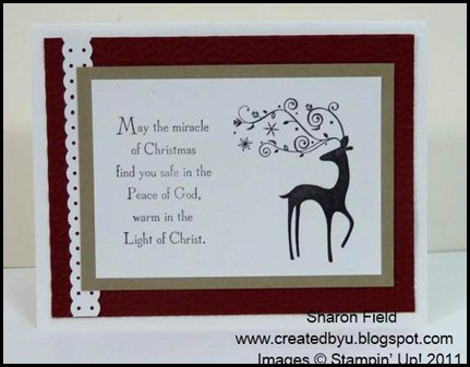 The_Sounding_Joy, Sharon_Field, Brushed_Gold,Quilted_Satin_Ribbon, CAS, 5_minute_Cards, Christ_The_King, camp, Holiday Mini Catalog, Lovely_As_A_Tree, Petite_Pairs, Bright_Hopes, Rhinestones, Frostwood_Lodge, Dasher, Gods_Blessings
