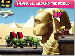 سافر حول العالم حيث تتغير خلفيات اللعبة إلى أشهر المناطق من البلدان المختلفة حول العالم فى لعبة تسونامى الزومبى Zombie Tsunami