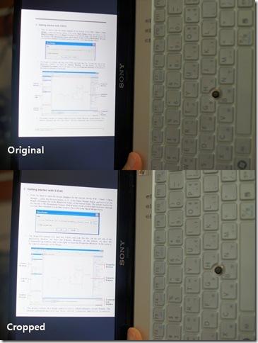 그림 2. VAIO P에서 세로로 PDF 파일 보기 비교 (Original vs. Cropped)