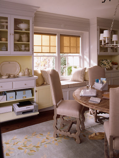 Create a home office in a formal dining room that is only used a few times a year, but utilizing the drawers of a hutch or china cabinet.