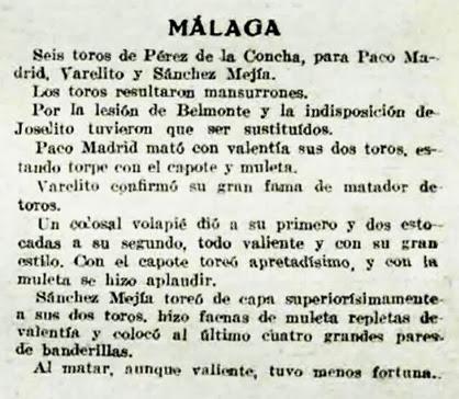 1919-07-13 (p. 14 La Lidia) reseña corrida