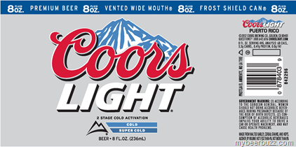 Coors Light 8oz Vented Wide Mouth Frost Shield Can