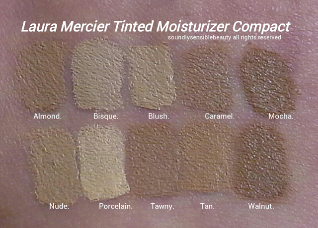 Laura Mercier Tinted Moisturizer Compact Cream Foundation SPF 25 Review & Swatches of Shades Almond, Bisque, Blush, Caramel, Mocha,  Nude, Porcelain, Tawny, Tan, Walnut,