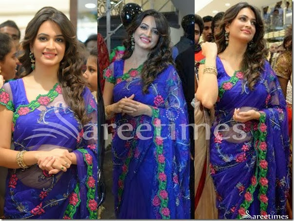 Kriti_Kharbanda_Blue_Net_Saree