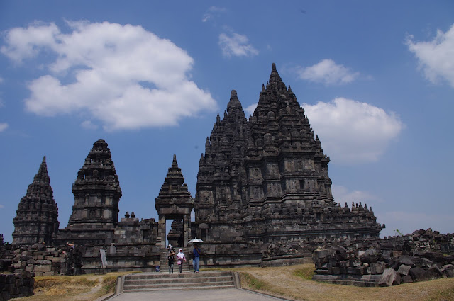 Some of the Hindu temples at Prambanan.