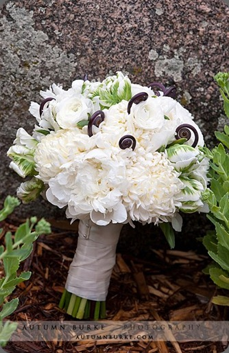 bridal bouquet of peonies tulips fern fronds football mums bella fiori