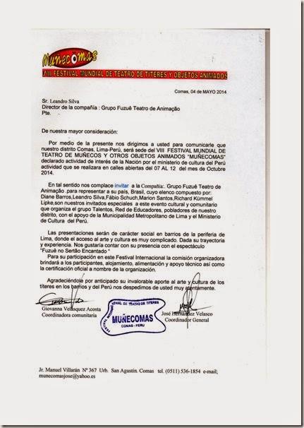 Carta Convite Muñecomas 2014 . Fuzuê