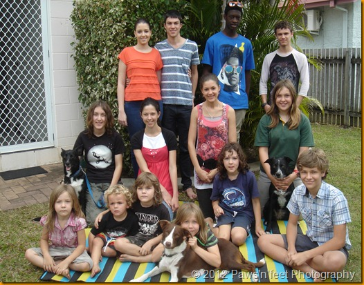 from back left; Kirsten, Joseph, Joshua F, Christopher, second row left; Jasmine, Destiny, Abigail, Jessica n Tess, front row from left; Suzanna, Jireh, Gabrielle, Chana n Lassie, Chantel, Joshua T