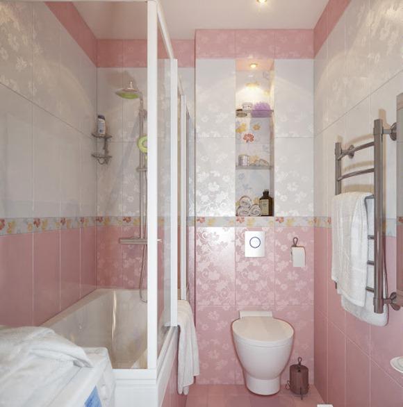 Imagenes De Baños Para Ninas:pequeño cuarto de baño de color rosa y blanco que es adecuado para