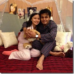 Gambar Lisa dan Yusry hanya pakai pyjamas atas katil