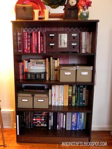 scrapbook paper bookshelf