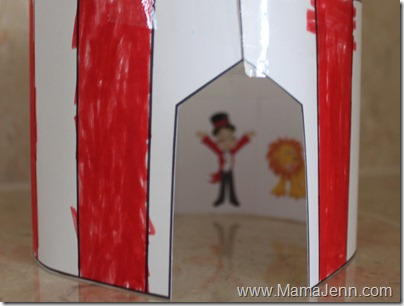 We used the tent in conjunction with the Circus Preschool Pack from Homeschool Creations. We glued the ring-master lion and a few others inside the tent! & Circus Tent Craft