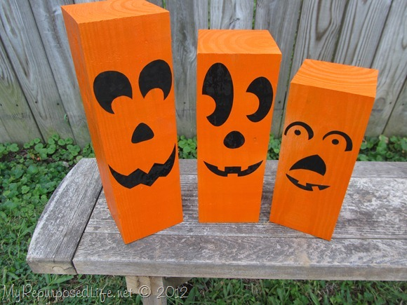 4x4 repurposed into jack-o-lantern decorations