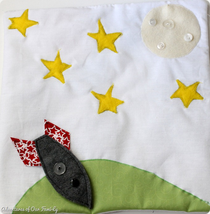 Quiet book DIY space ship felt template
