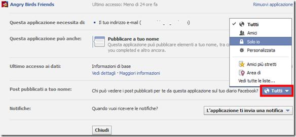 Disattivare notifiche utilizzo gioco applicazione Facebook