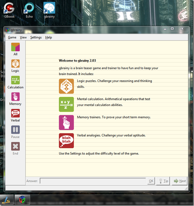 gbrainy for windows 2.03 screenshot