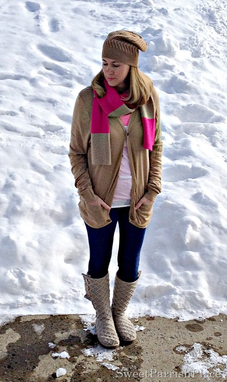 leggings, boyfriend cardigan, uggs, hat